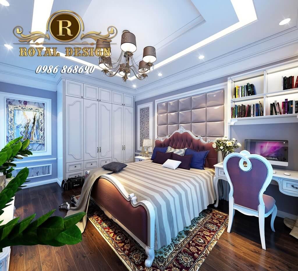thiết kế nội thất phòng ngủ bé gái màu tím theo phong cách tân cổ điển châu âu