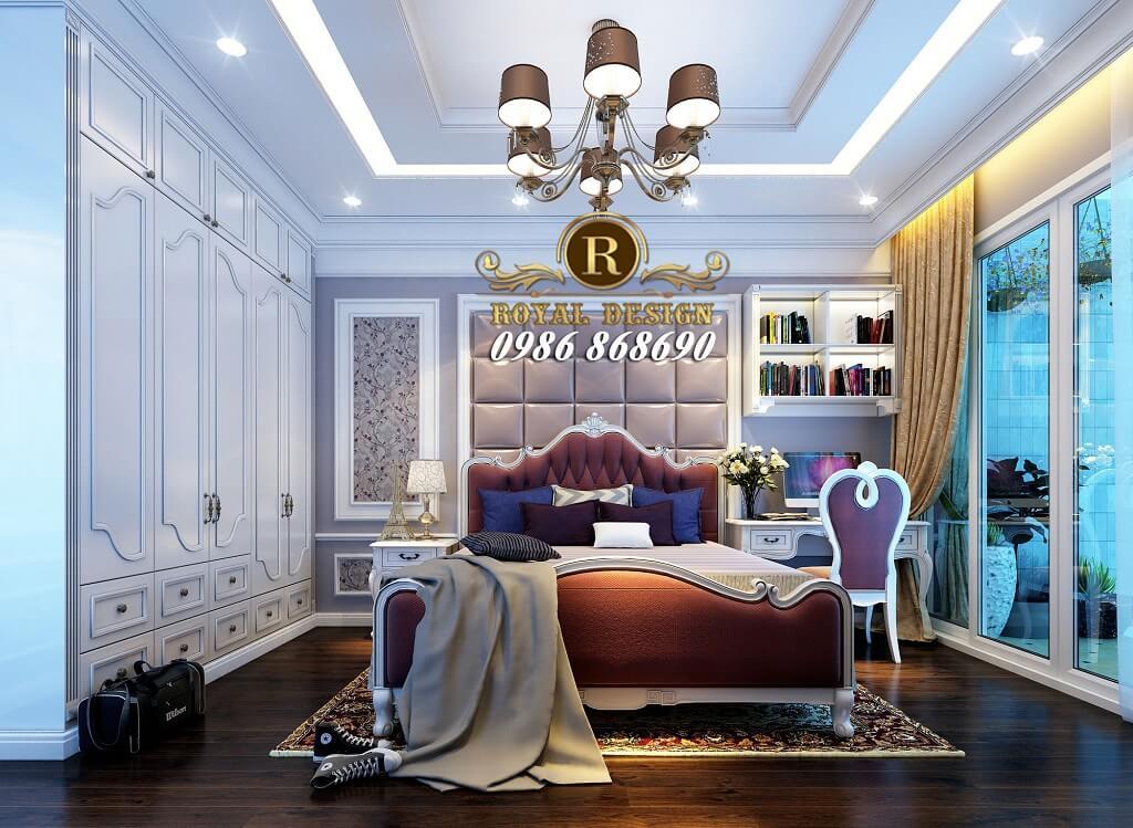 thiết kế nội thất phòng ngủ bé gái màu tím