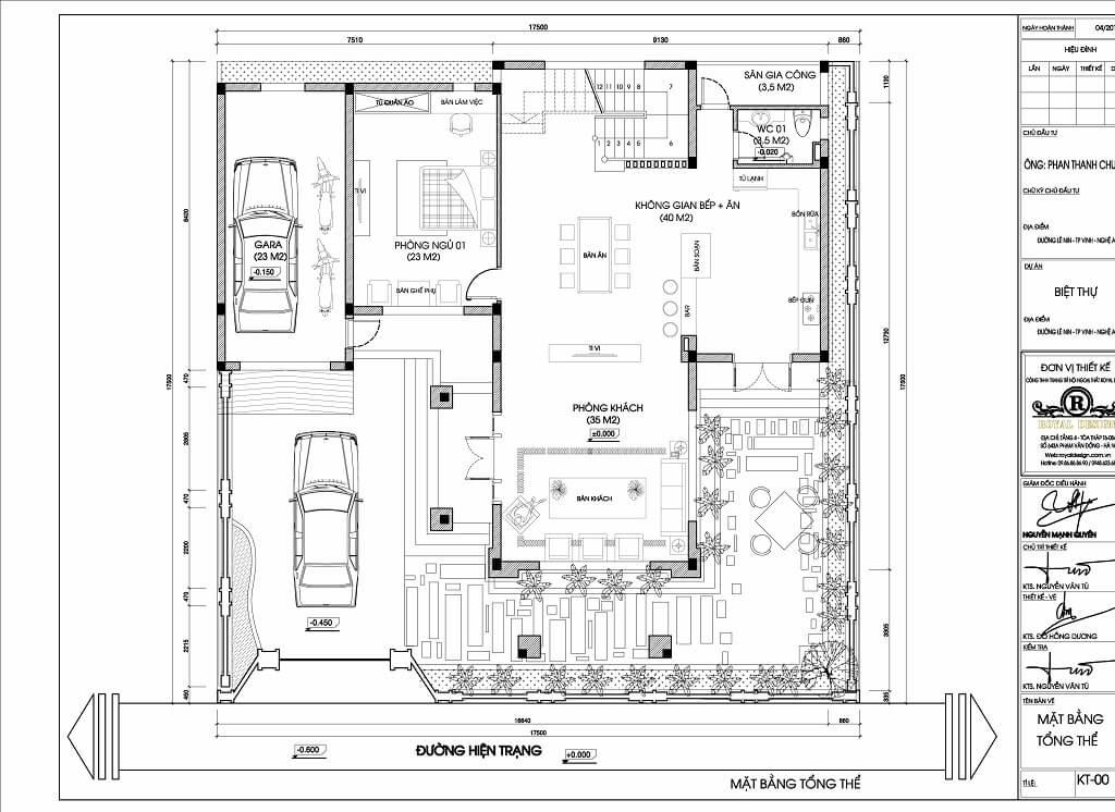 mặt bằng bố trí nội thất tầng 1 - mẫu thiết kế kiến trúc biệt thự 3 tầng tân cổ điển