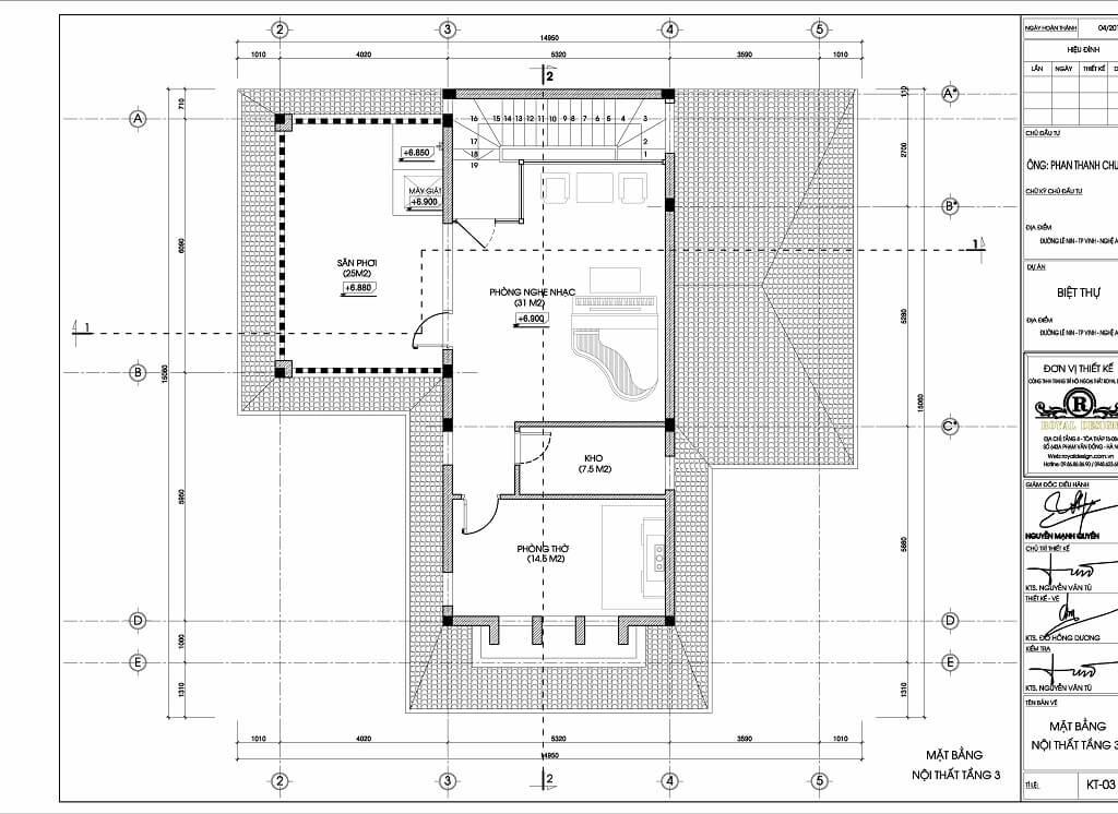 mặt bằng bố trí nội thất tầng 3 , mẫu kiến trúc biệt thự 3 tầng tân cổ điển