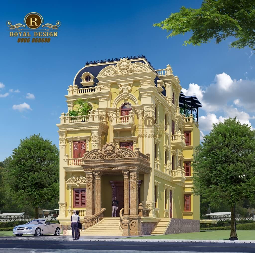 Phối cảnh mẫu lâu đài kiểu pháp 3 tầng tân cổ điển