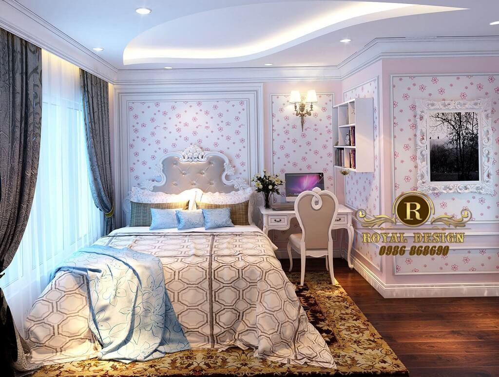 Thiết kế nội thất phòng ngủ bé gái màu hồng