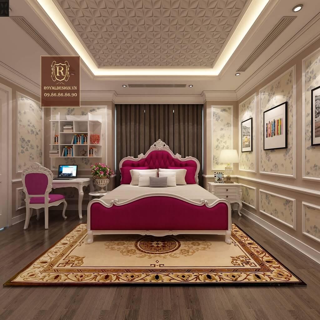 Giường ngủ tân cổ điển màu hồng