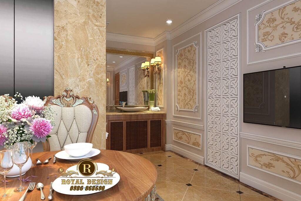 View nội thất phòng ăn tân cổ điển