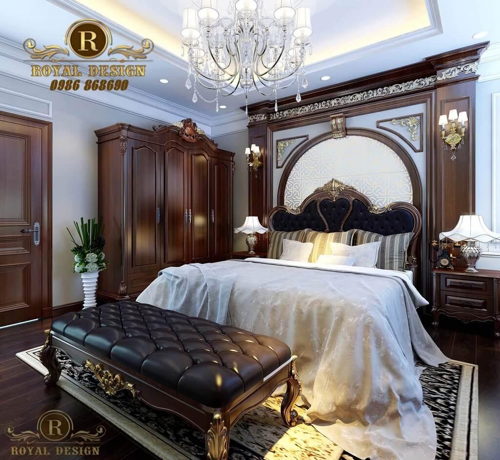 nội thất phòng ngủ master phong cách tân cổ điển hoàng gia