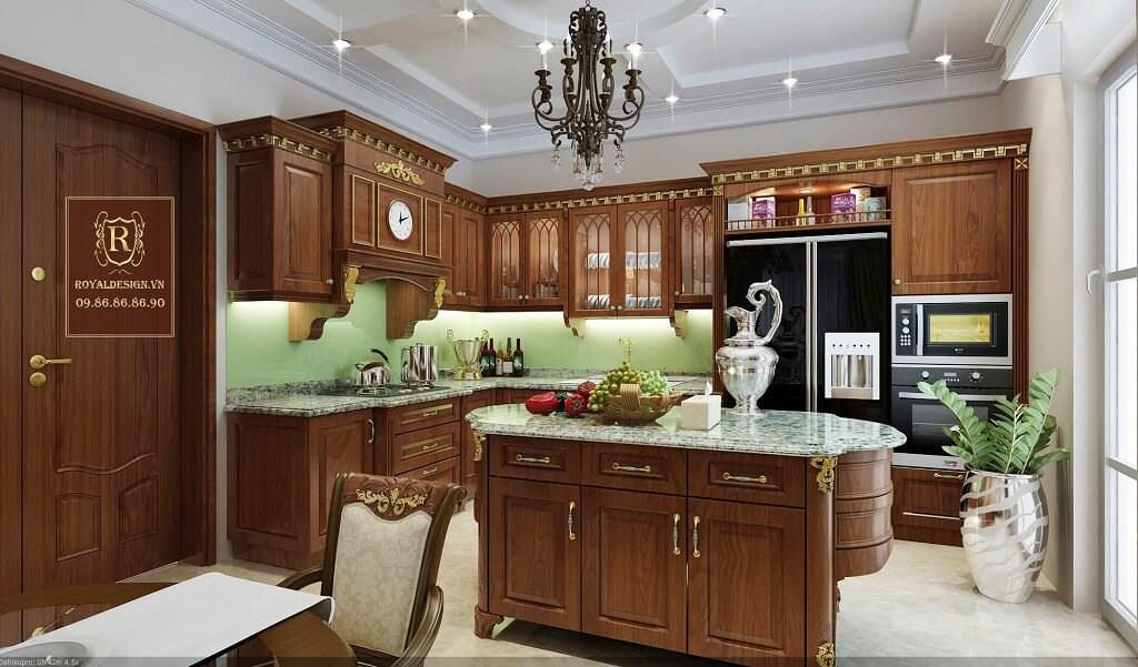 Phối cảnh 3d-01: thiết kế nội thất phòng bếp tân cổ điển tầng 3