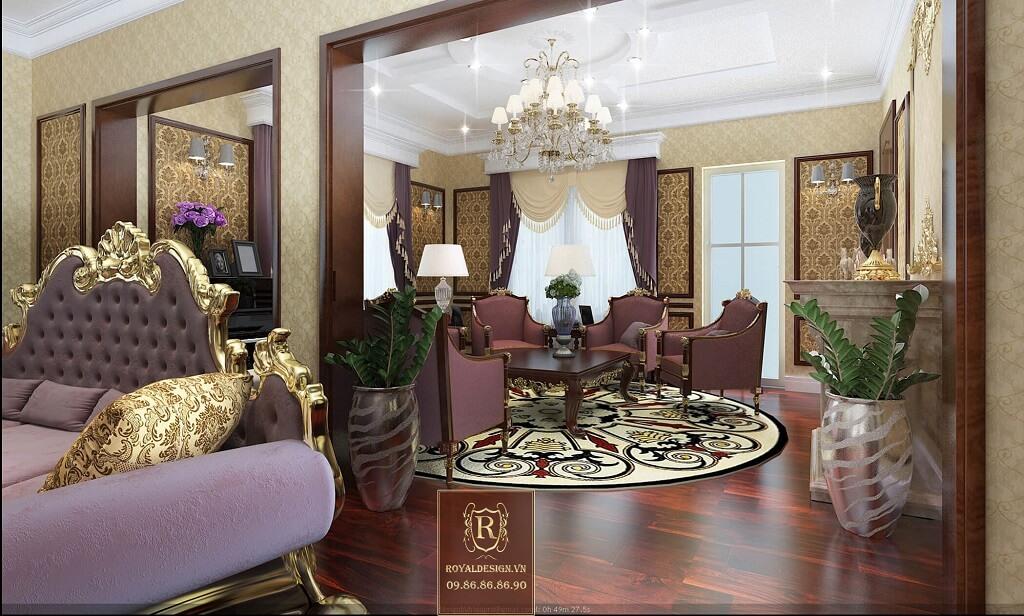 Phối cảnh 3d-03: thiết kế nội thất phòng khách tân cổ điển tầng 3