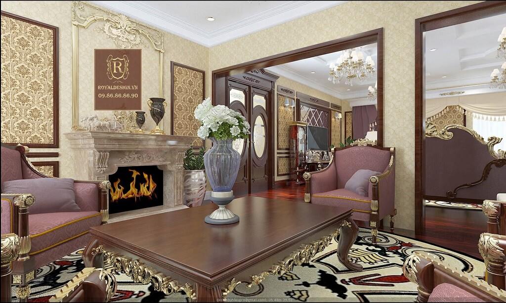Phối cảnh 3d-04: thiết kế nội thất phòng khách tân cổ điển tầng 3