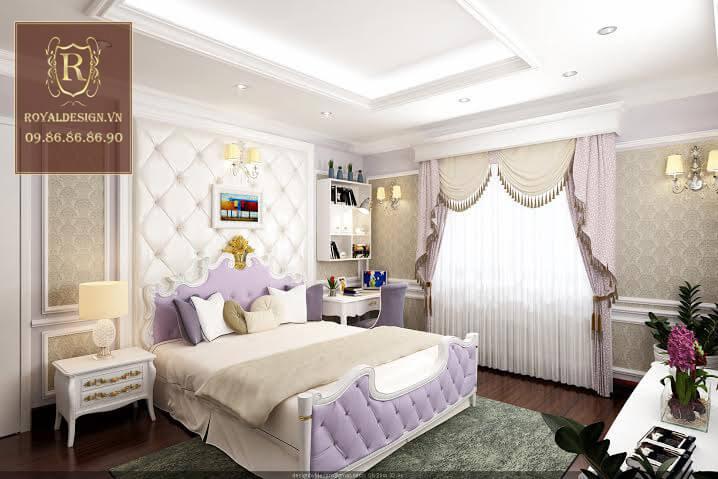 Nội thất phòng ngủ cho con gái được thiết kế đơn giản nhưng vẫn dùng chất liệu gỗ gõ đỏ và họa tiết dát vàng nên rất sang trọng 01