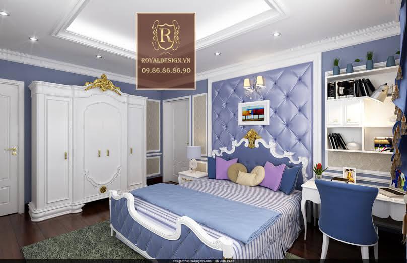Thiết kế nội thất phòng ngủ tân cổ điển con trai