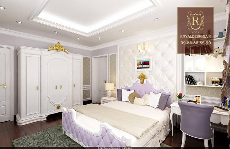 Nội thất phòng ngủ cho con gái được thiết kế đơn giản nhưng vẫn dùng chất liệu gỗ gõ đỏ và họa tiết dát vàng nên rất sang trọng