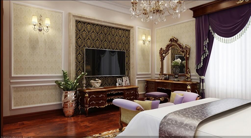 Phối cảnh 3d-02: thiết kế nội thất phòng ngủ tân cổ điển tầng 3