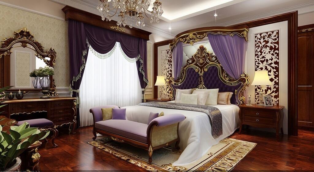 Phối cảnh 3d-01: thiết kế nội thất phòng ngủ tân cổ điển tầng 3