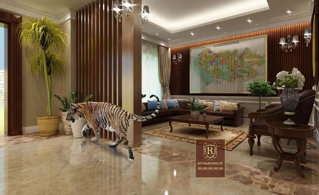 Phối cảnh 3d: phòng tiếp khách phụ tầng 1 khách sạn