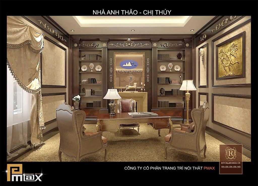 thiết kế nội thất phòng giám đốc tân cổ điển tầng 2