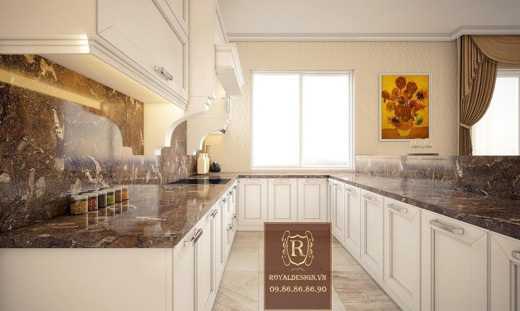 Thiết kế nội thất bếp biệt thự tân cổ điển 1