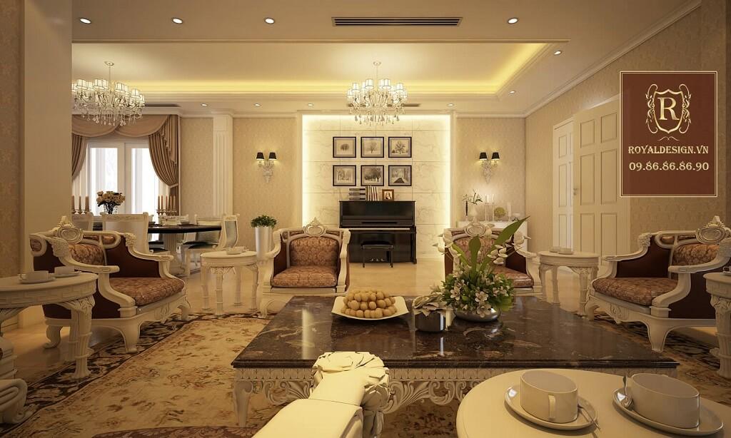Thiết kế sofa phòng khách tân cổ điển
