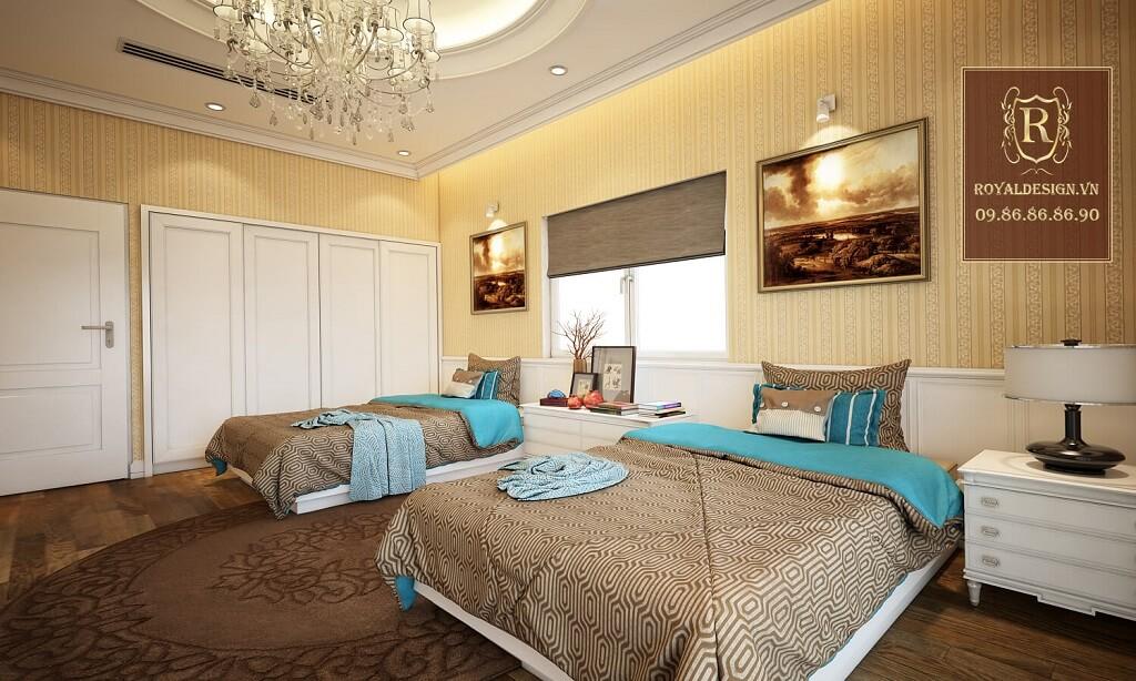 Thiết kế nội thất phòng ngủ đôi tân cổ điển 1