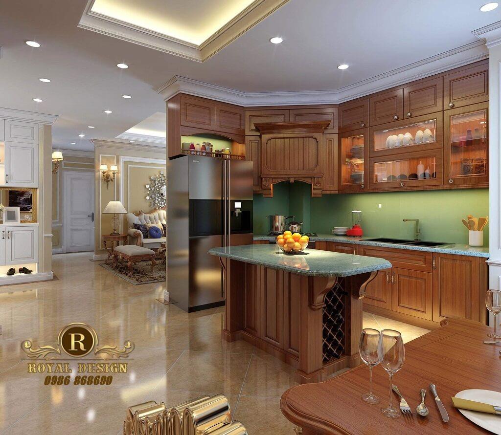 Tủ bếp màu gỗ tân cổ điển