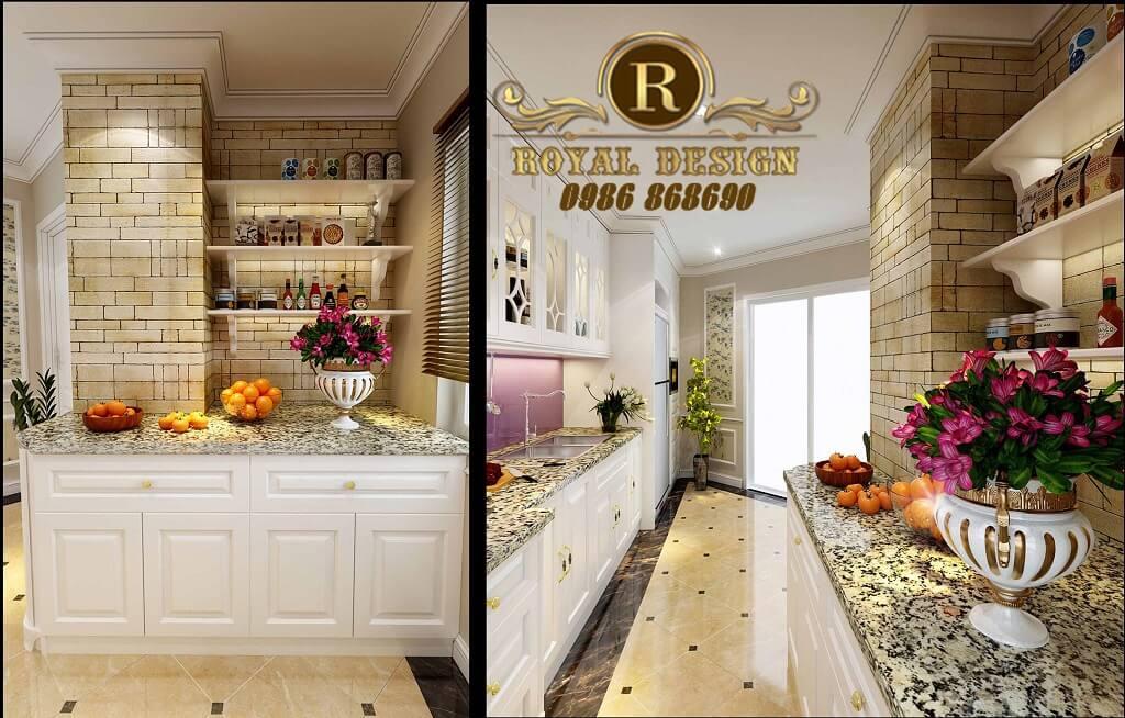 Thiết kế phòng bếp tân cổ điển, tủ bếp được thiết kế theo phong cách tân cổ điển màu trắng đơn giản