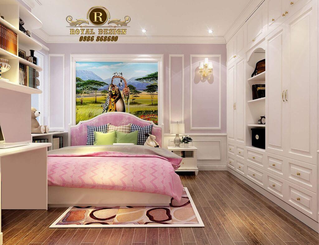 Thiết kế nội thất phòng ngủ bé gái màu hồng tân cổ điển chị hoài anh n04 hoàng đạo thúy