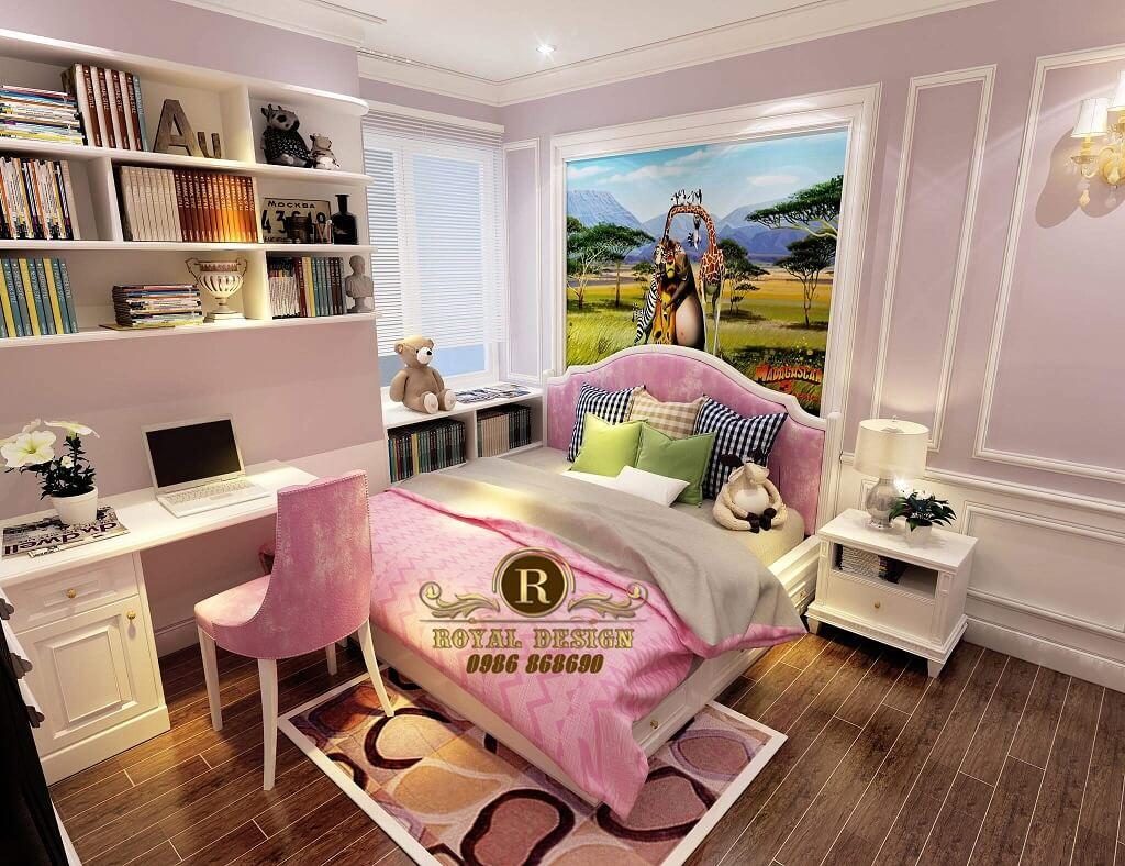 phòng ngủ bé gái màu hồng tân cổ điển