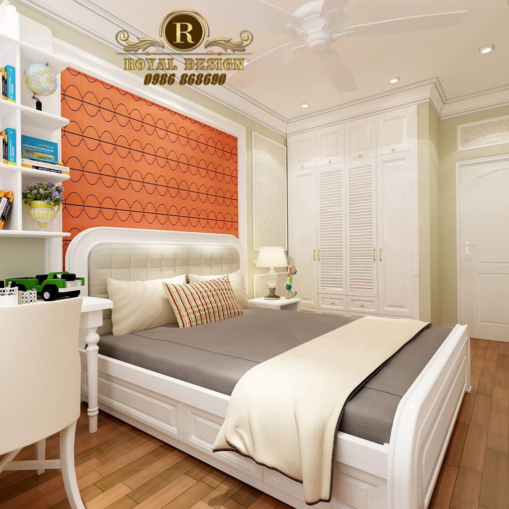 Thiết kế nội thất phòng ngủ bé trai màu cam tân cổ điển