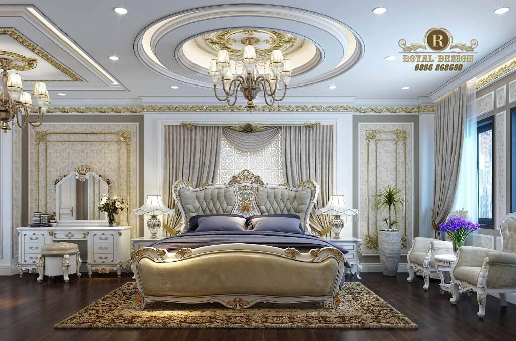 bộ giường ngủ cổ điển màu ánh bạc