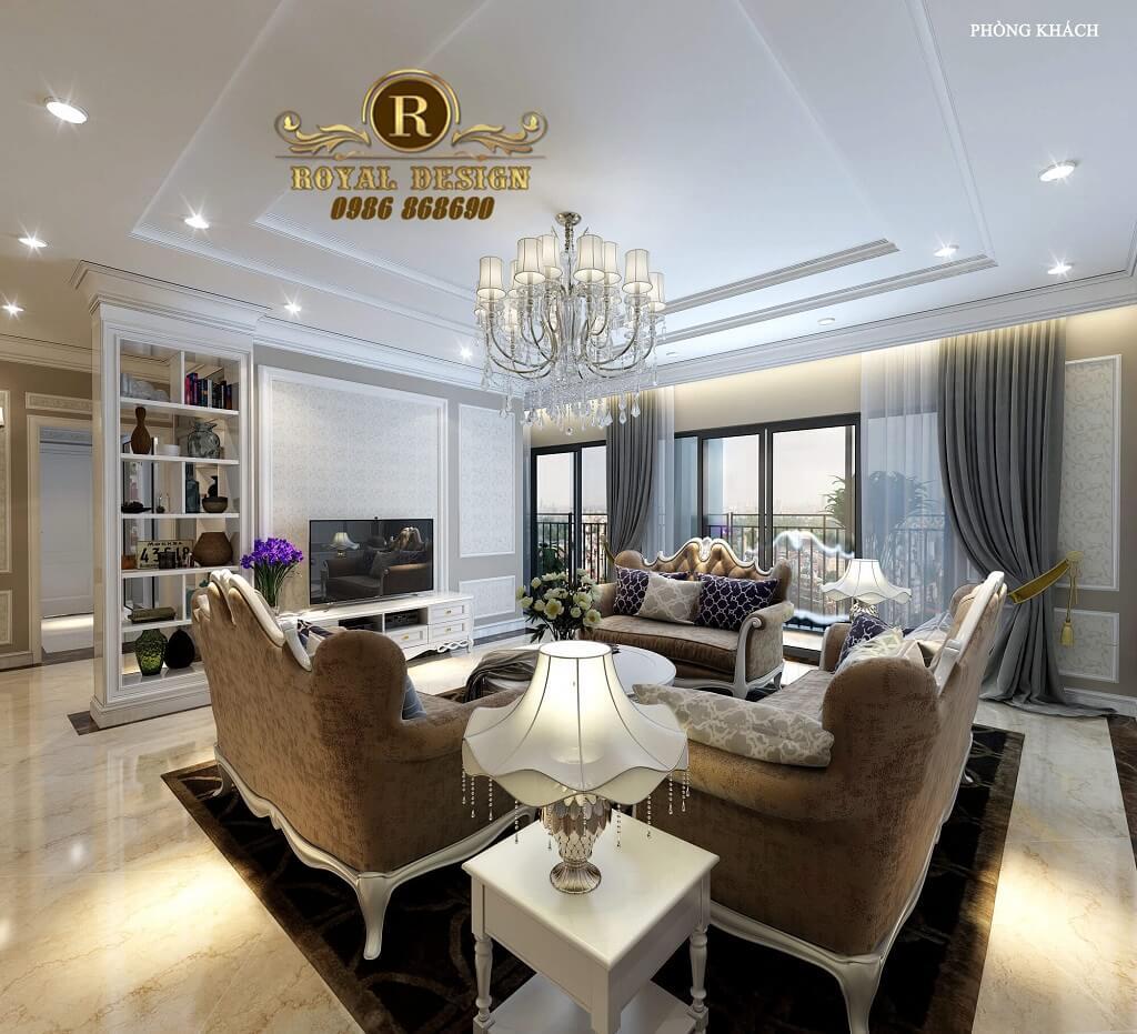 Thiết kế nội thất phòng khách tân cổ điển châu âu