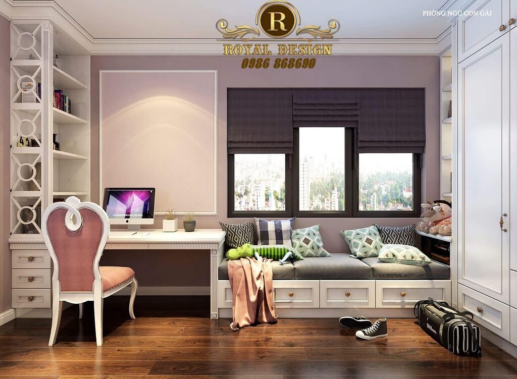 Thiết kế nội thất phòng ngủ bé gái tân cổ điển màu hồng