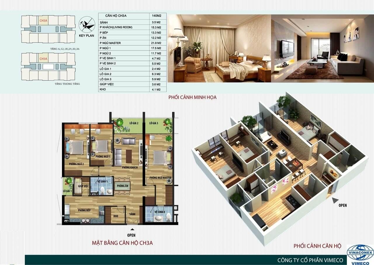 mặt bằng bố trí nội thất căn hộ ch3A ct4 vimeco