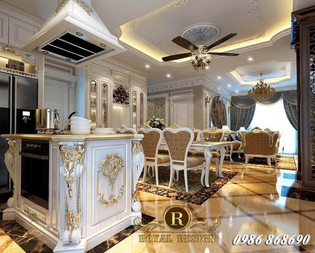 thiết kế bàn đảo tân cổ điển hoàng gia cho nội thất chung cư tân cổ điển