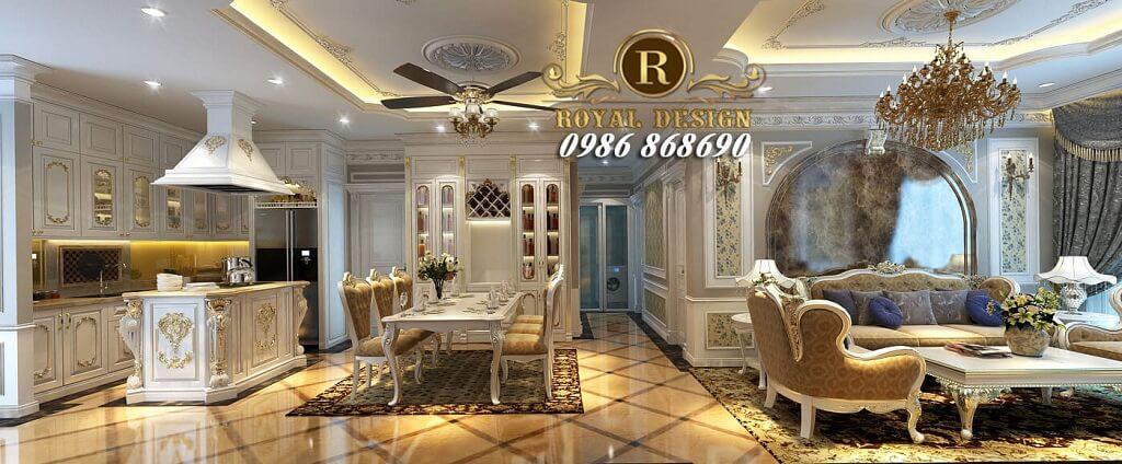 Thiết kế nội thất phòng khách tân cổ điển màu trắng