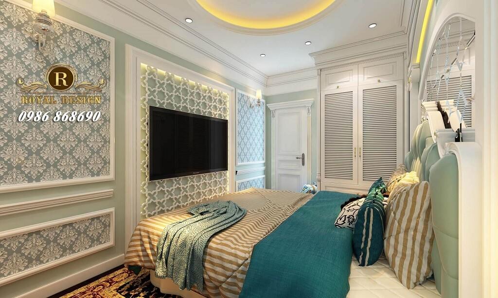 Bộ phòng ngủ tân cổ điển màu xanh ngọc