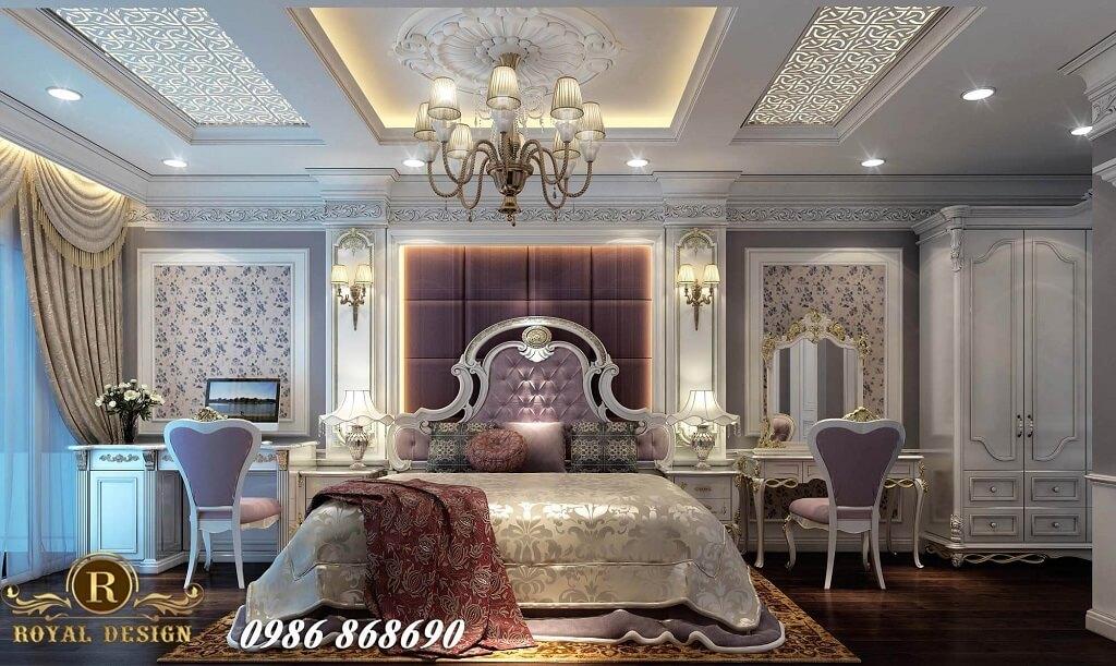Giường tân cổ điển màu tím nhạt