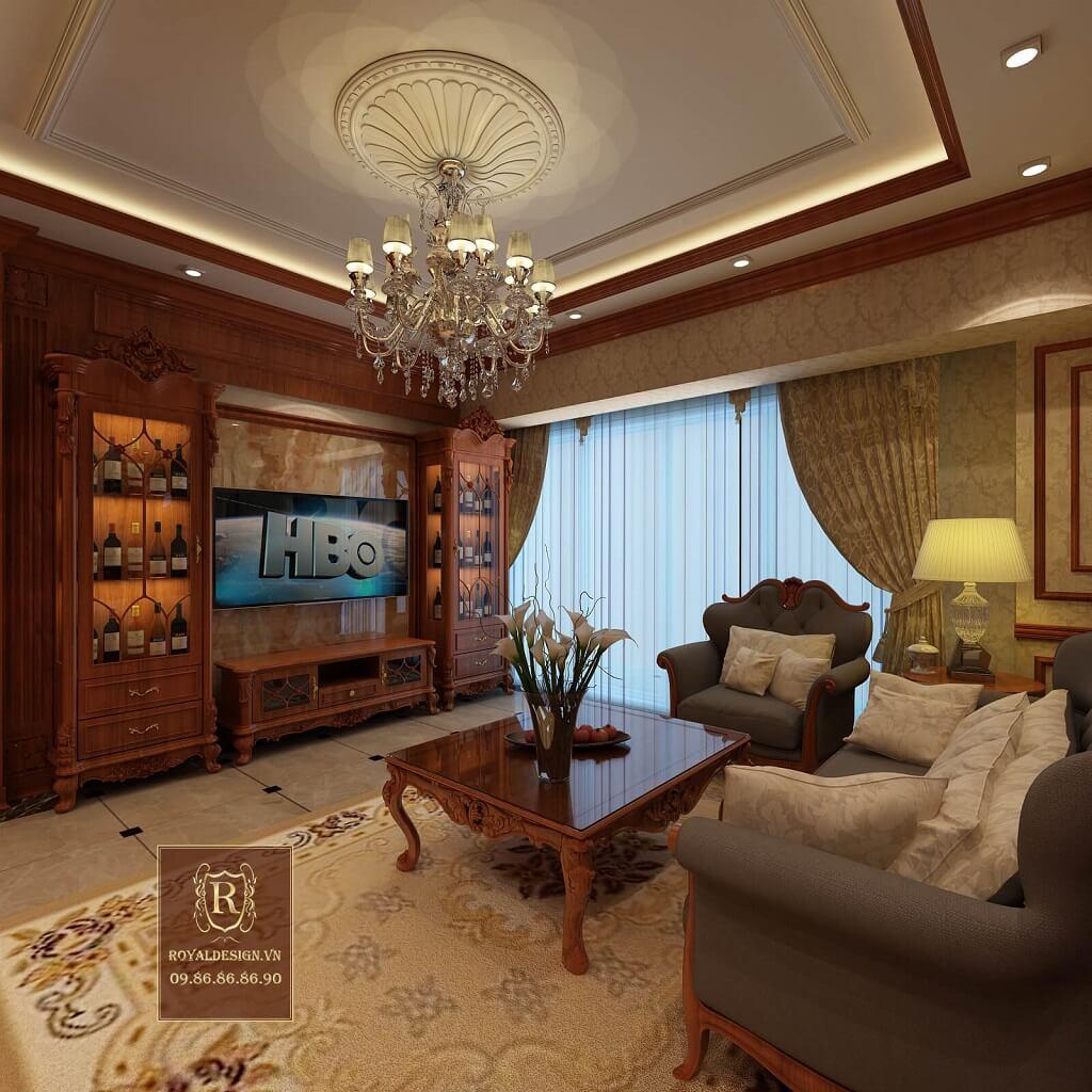 Nội thất phòng khách tân cổ điển bao gồm: tủ rượu tân cổ điển, kệ tivi tân cổ điển