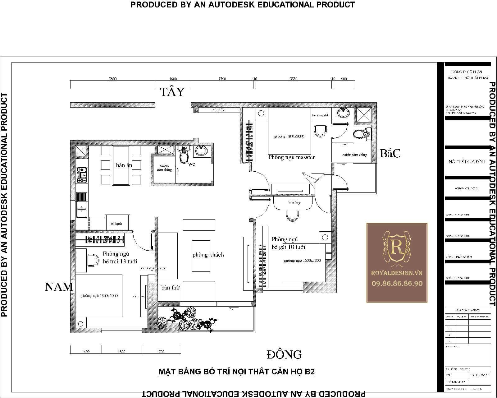 Mặt bằng căn hộ chung cư 122m2