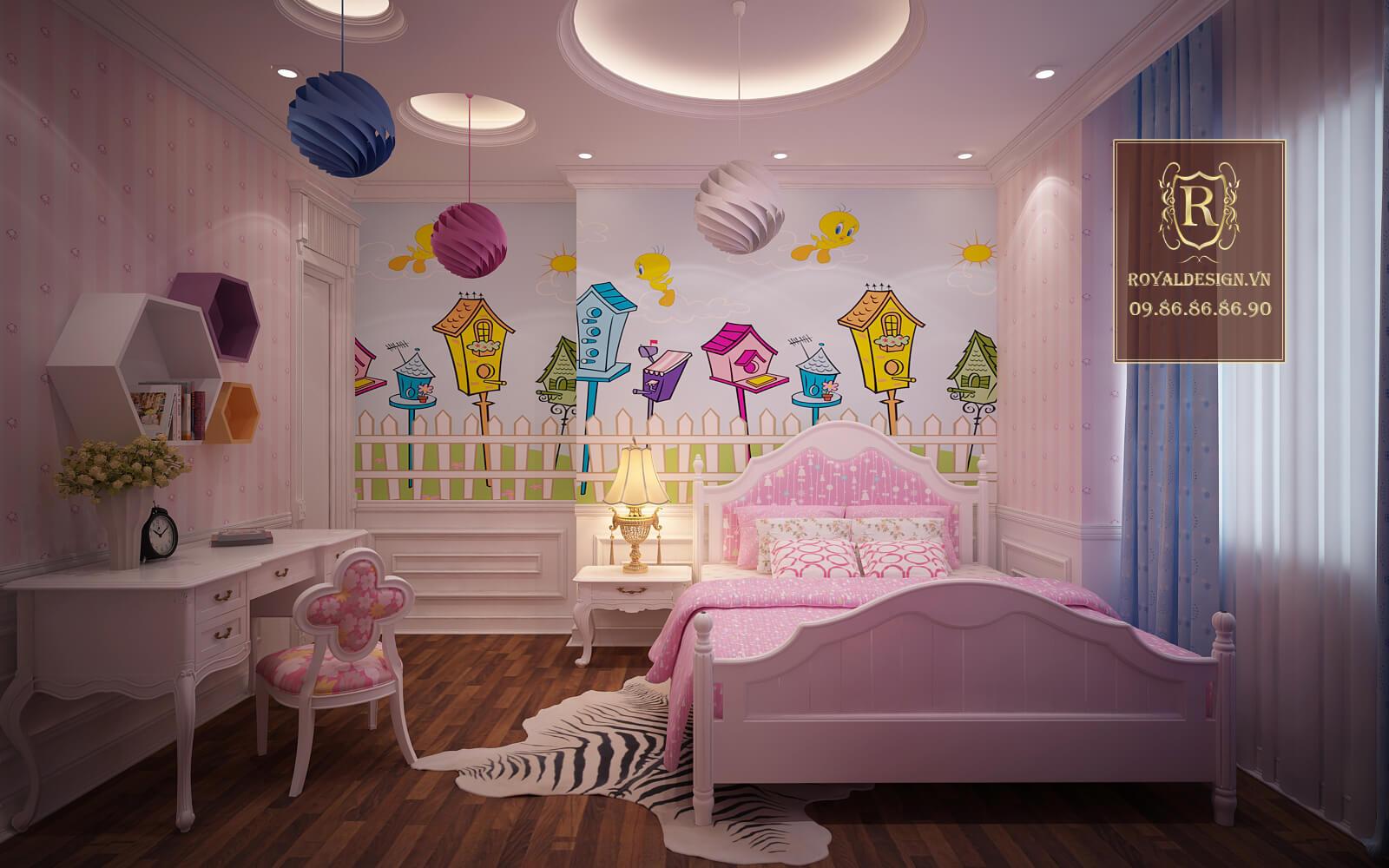 Mẫu phòng ngủ màu hồng cho bé gái