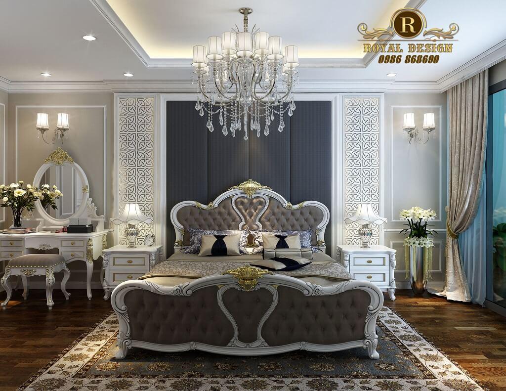Thiết kế nội thất phòng ngủ tân cổ điển màu trắng