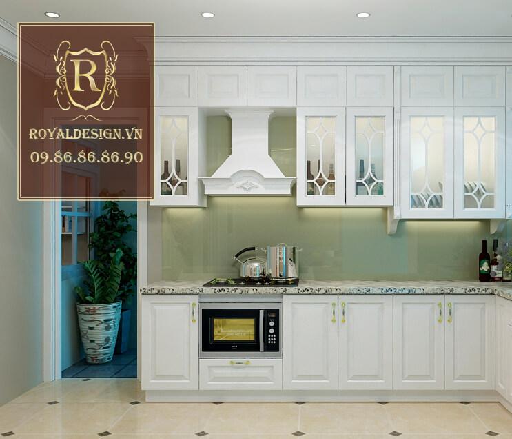 tủ bếp gỗ sồi tân cổ điển màu trắng cho chung cư 12m2