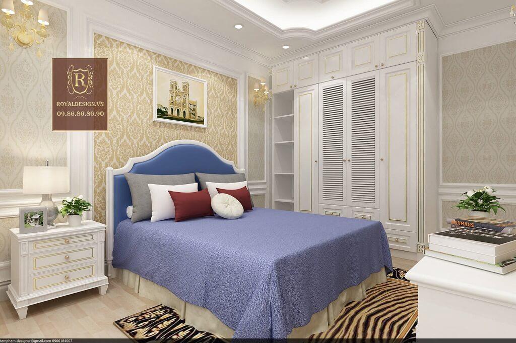 Giường ngủ tân cổ điển con trai màu xanh