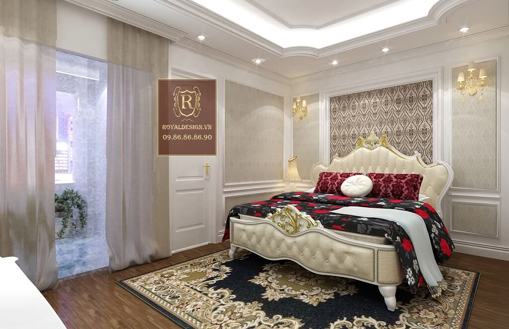 Bộ giường tủ tân cổ điển màu trắng tân cổ điển