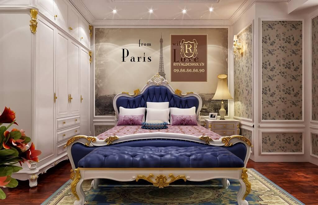 giường ngủ tân cổ điển màu xanh biển