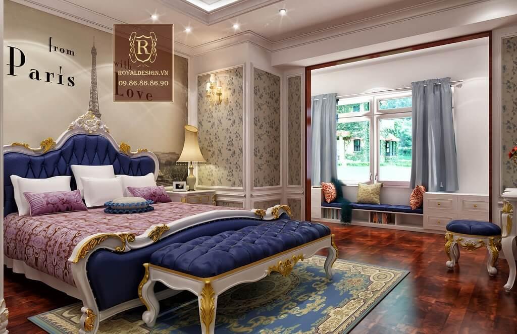 bộ giường ngủ tân cổ điển màu xanh biển