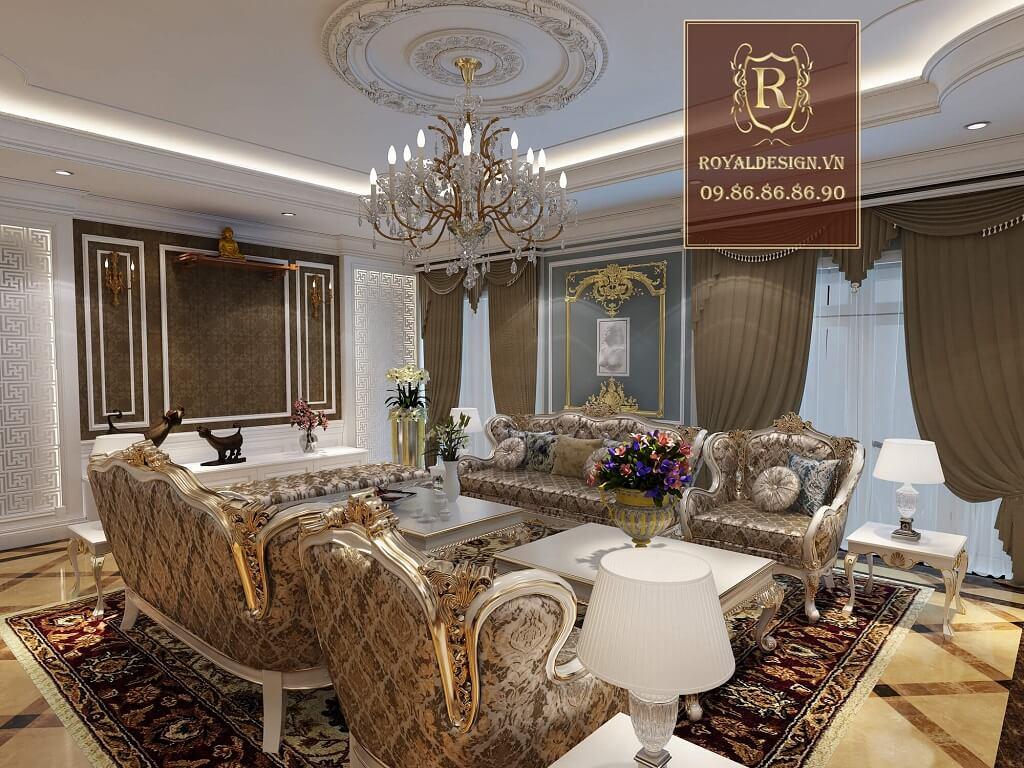 sofa khung gỗ sơn màu trắng ngọc trai bọc nỉ hoa văn nhập khẩu bỉ
