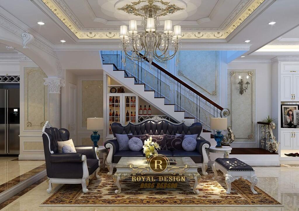 Phòng khách tân cổ điển màu xanh