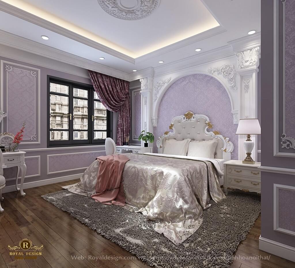 Nội thất phòng ngủ con gái tân cổ điển Vinhome Thăng Long