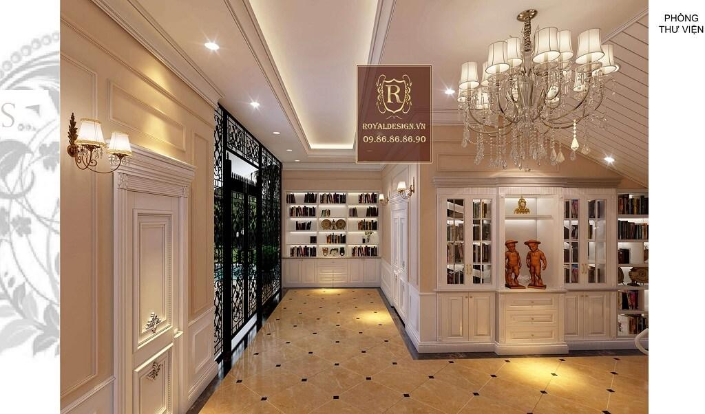 Thiết kế phòng thư viện tân cổ điển