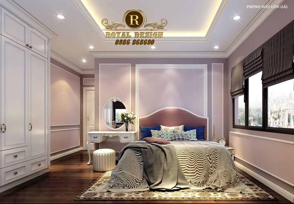 Phòng ngủ tân cổ điển con gái màu hồng