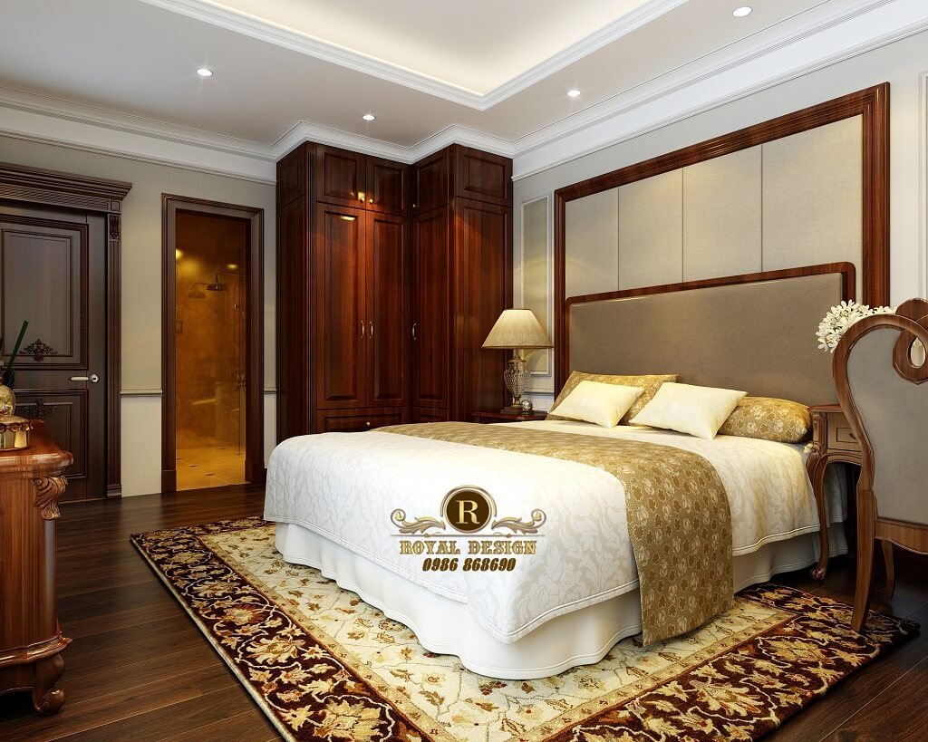 Thiết kế giường ngủ ông bà cổ điển